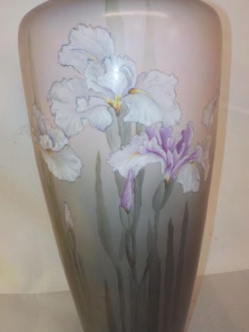 "Monumental Vase w/ handpainted Lilies 18"" H x 8"" W Made - 2"