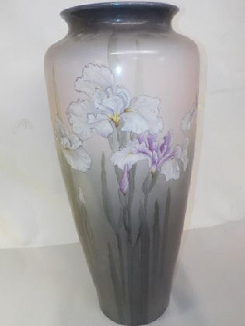 "Monumental Vase w/ handpainted Lilies 18"" H x 8"" W Made - 3"