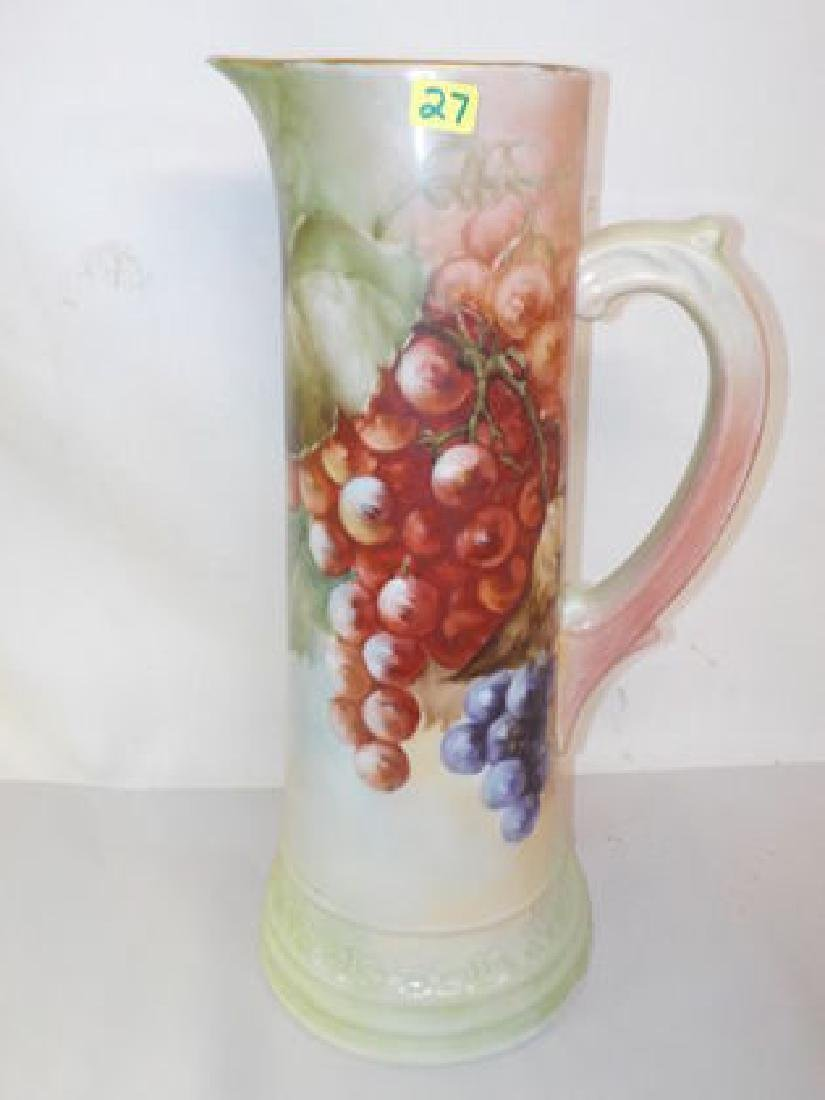 """Handled Tankard w/ grape cluster 14.8"""" H Made by: T & V"""