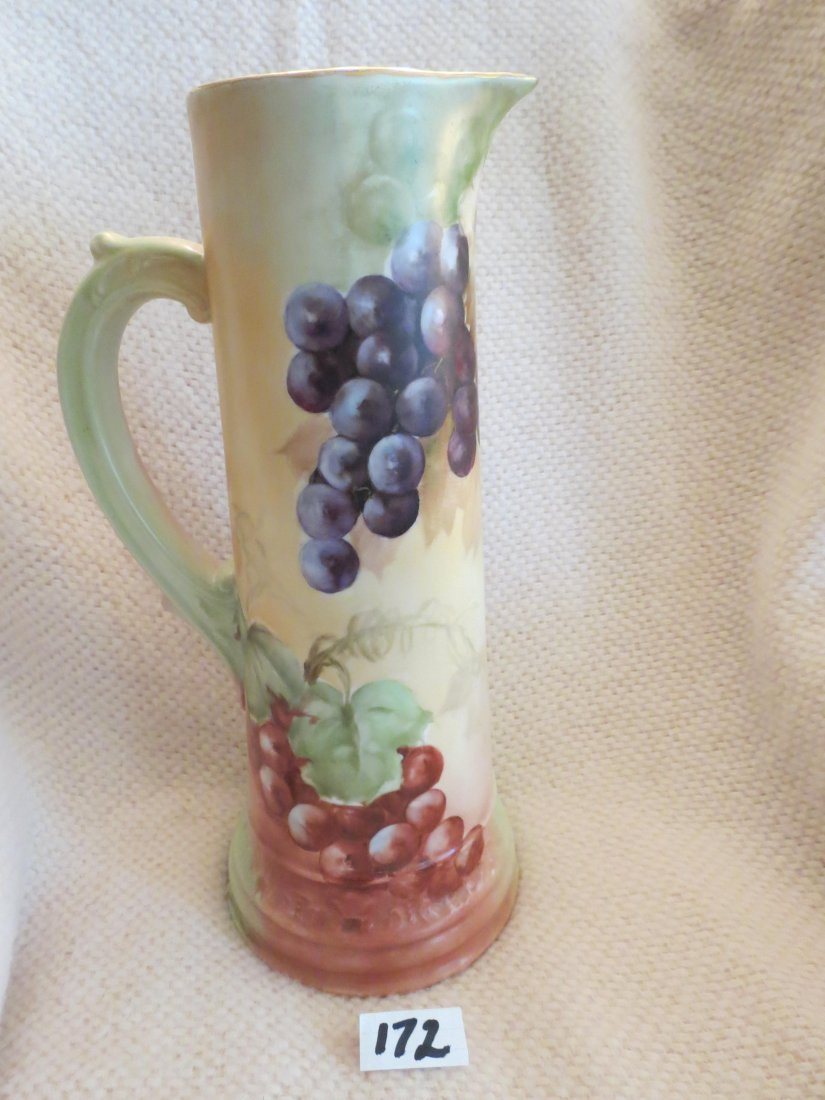 """Handled Tankard w/ grape cluster 14.8"""" H Made by: T & V - 3"""