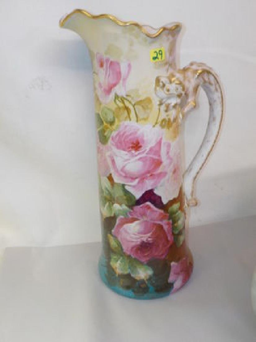 """Tankard dragon handle w/ pink roses 15"""" H Made by: JPL"""