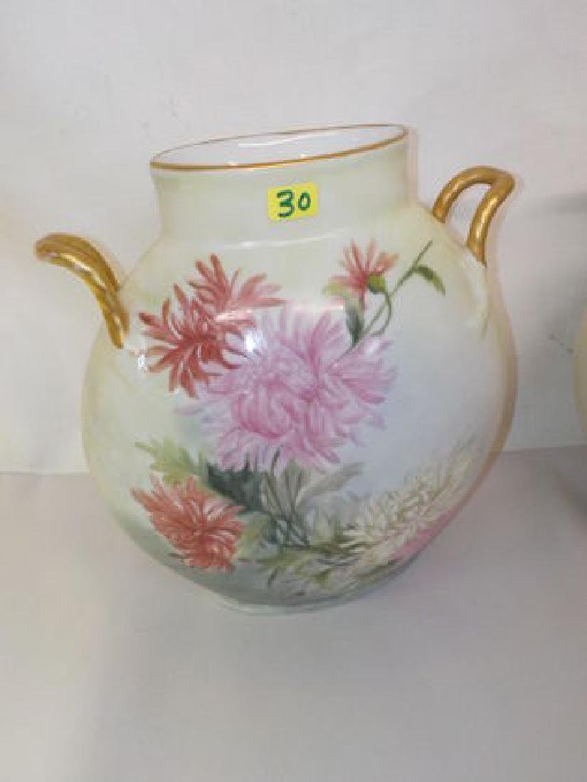 "Two handled pillow vase w/ flowers 9"" H x 7"" W Made by:"