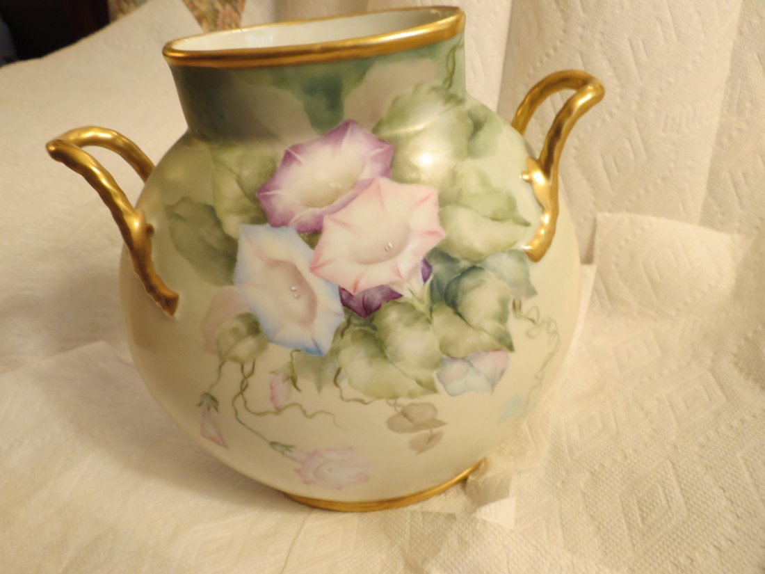 Two handled pillow vase with handpainted morning