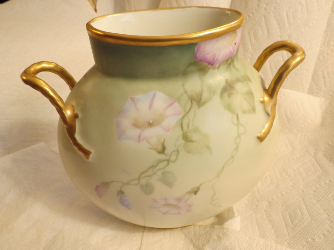 Two handled pillow vase with handpainted morning - 2
