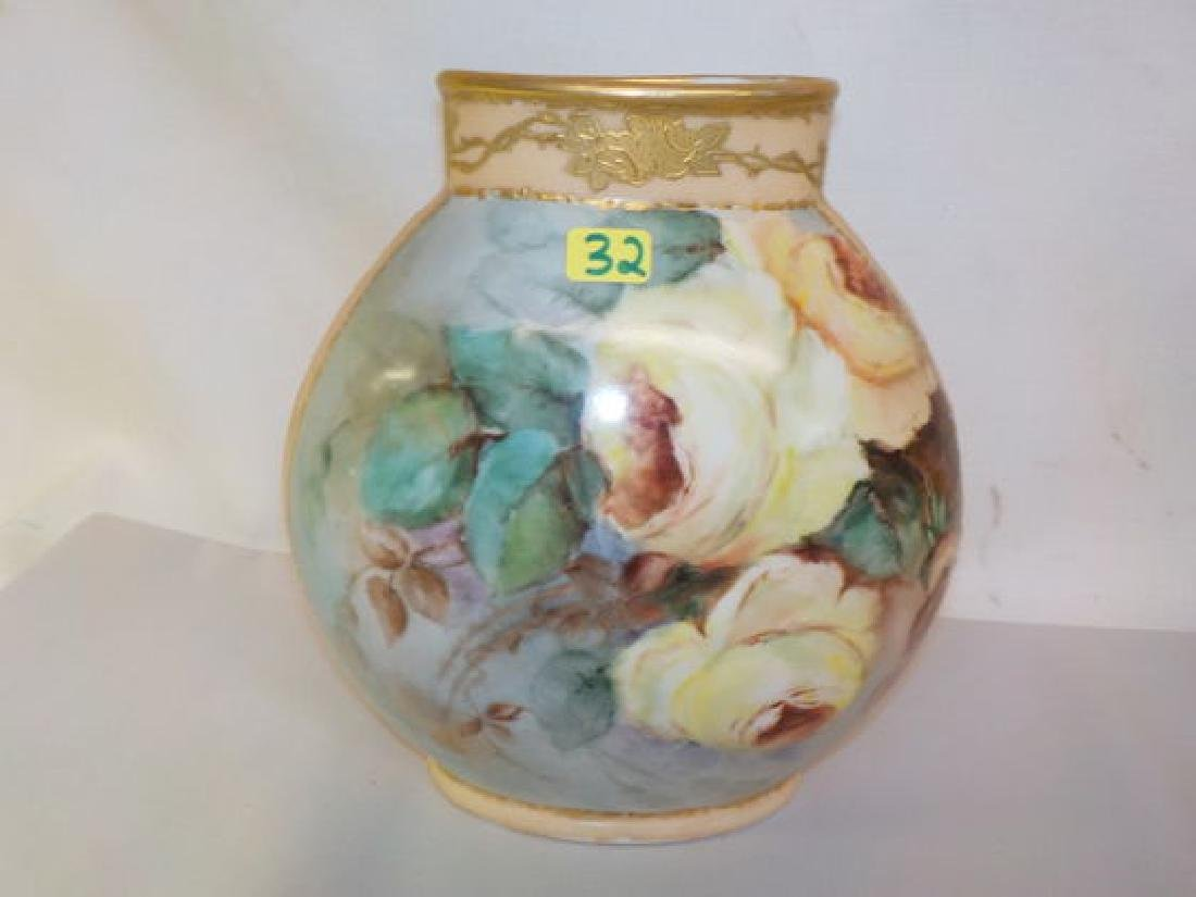 "Pillow vase w/ yellow roses 8.5"" H x 7"" W Made by: JPL"