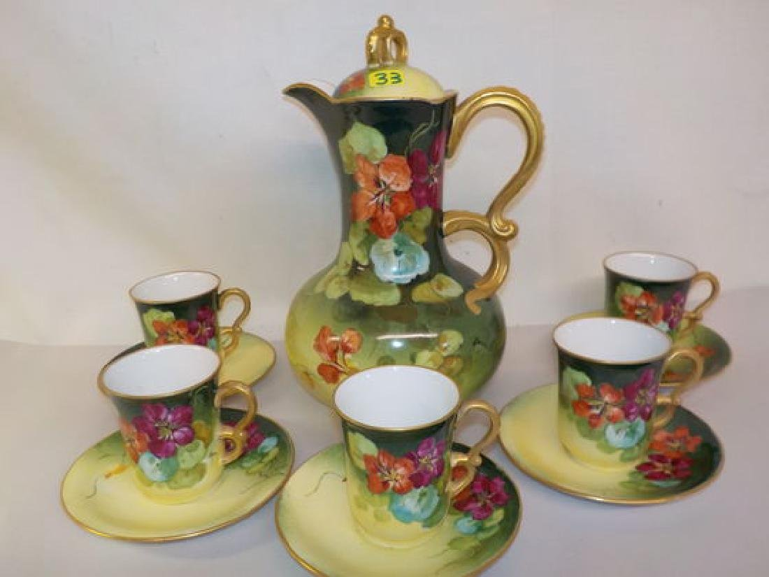 Highly decorated handpainted Chocolate Set: Pitcher,
