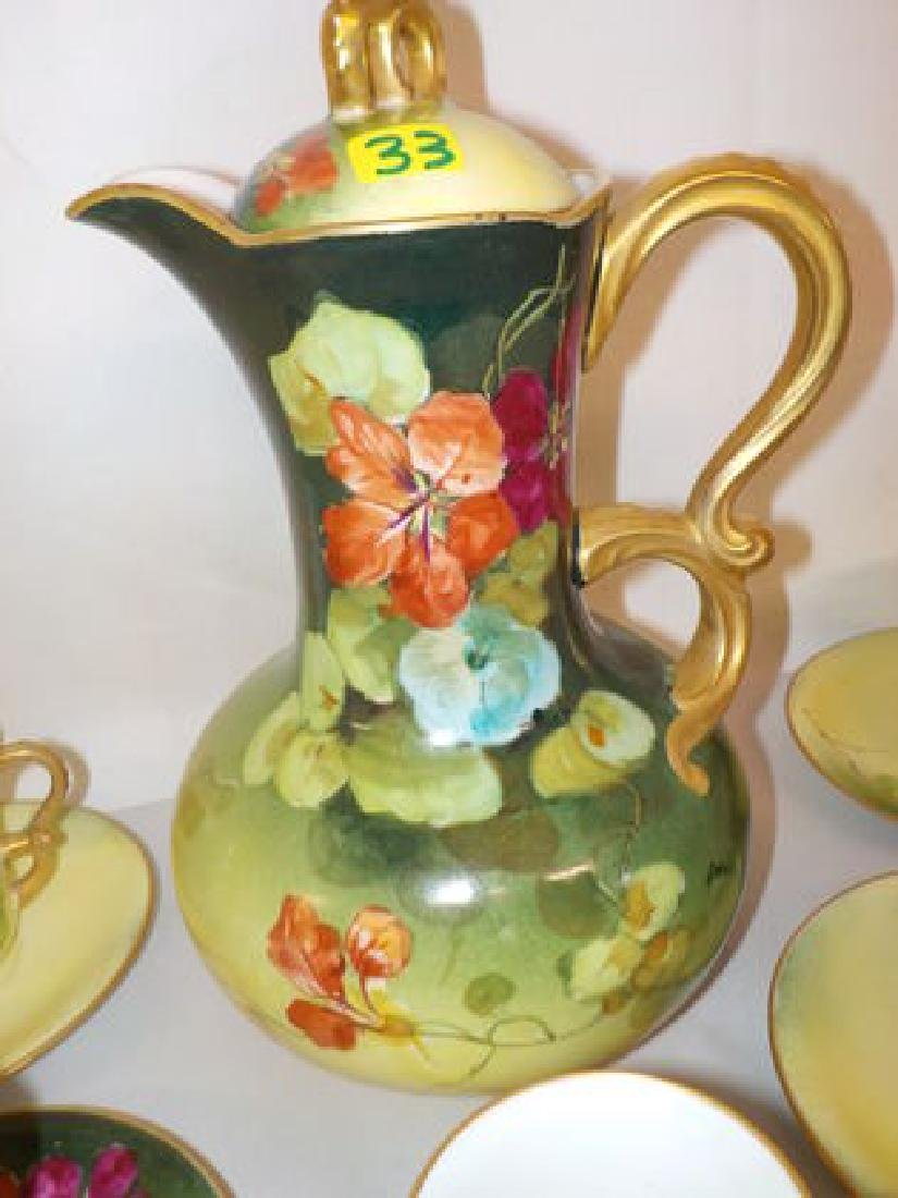 Highly decorated handpainted Chocolate Set: Pitcher, - 2