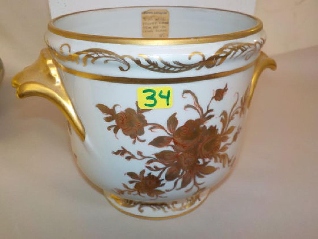 """Two handled chache pot w/ handpainted roses  6"""" H x 8"""""""