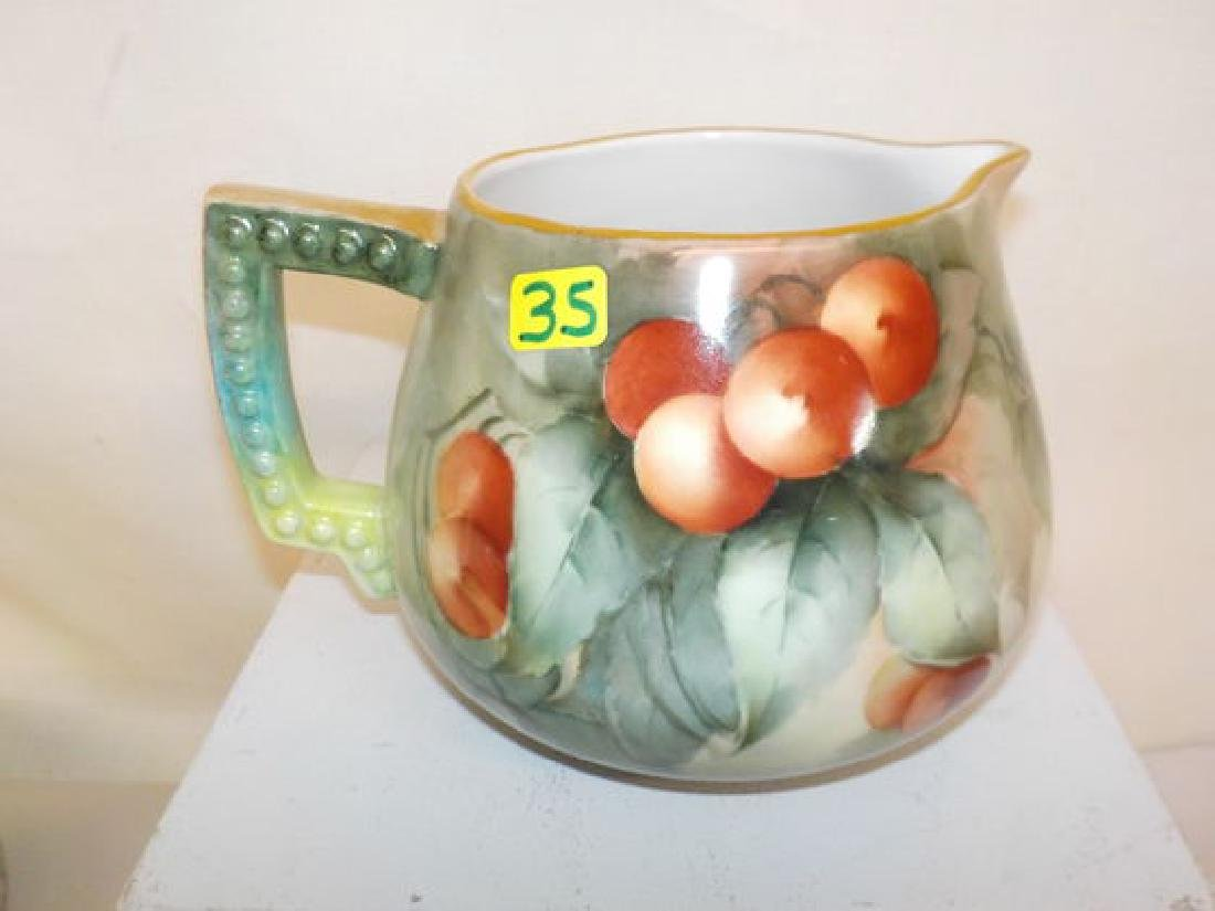 "Squat cream pitcher w/ handpainted cherries  5"" H x 6"""