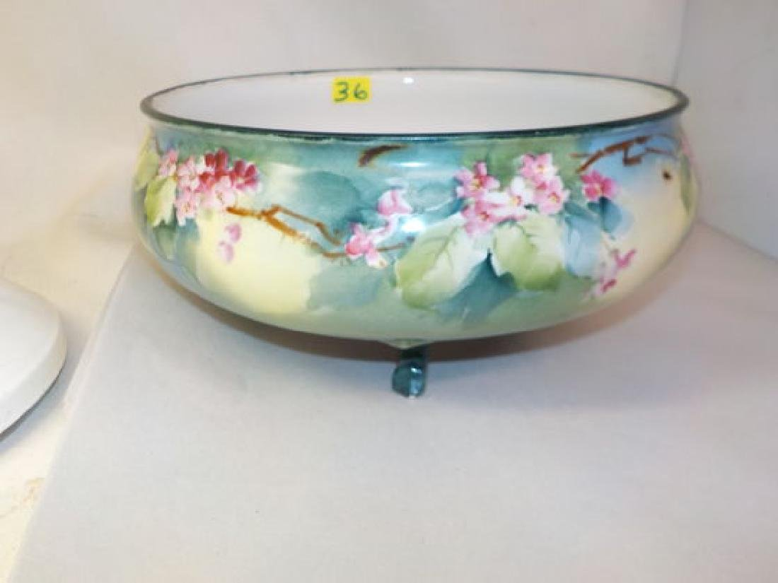 "Three footed bowl with handpainted flowers 3.75"" H x 8"""