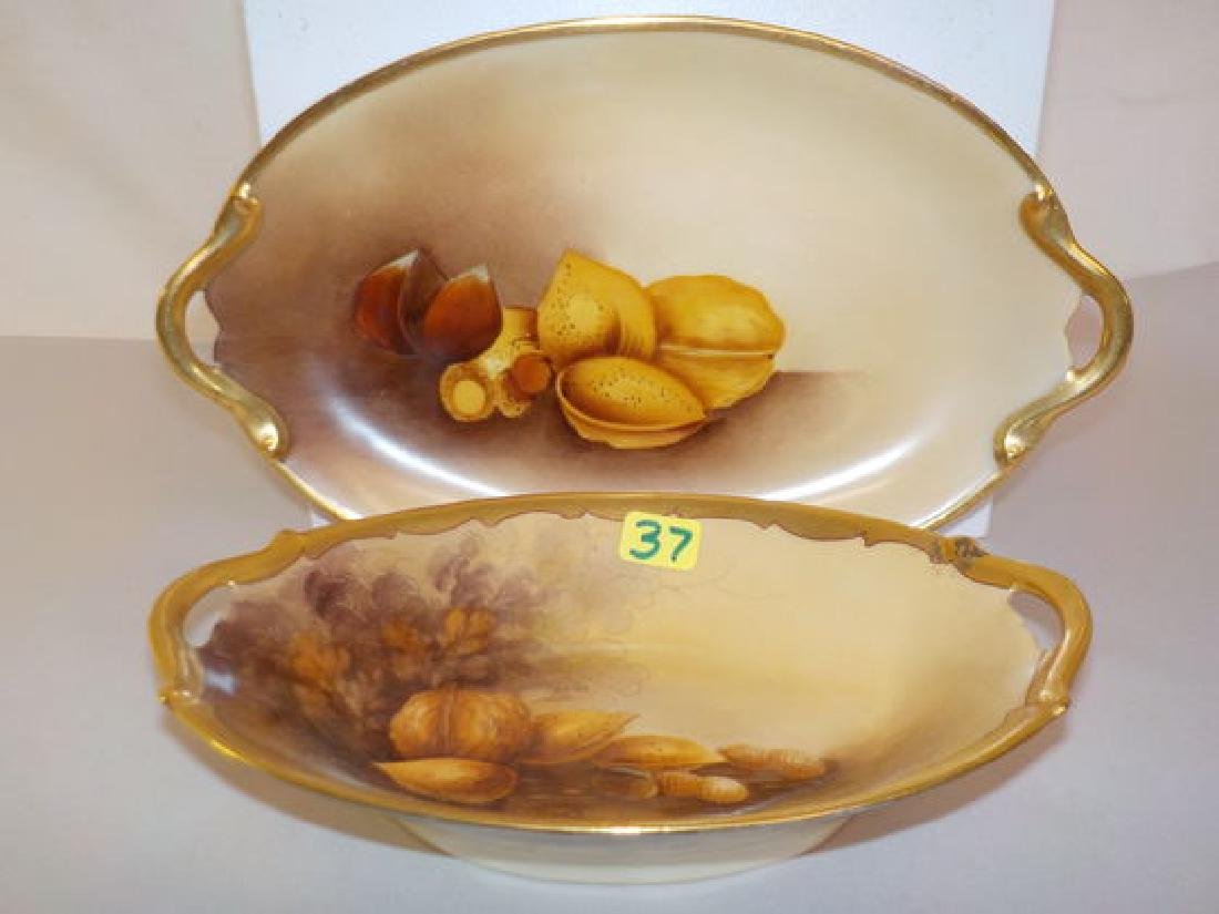 "2 pc. Lot Two Handled Nut Dish 7"" W Made by: Noritake-"