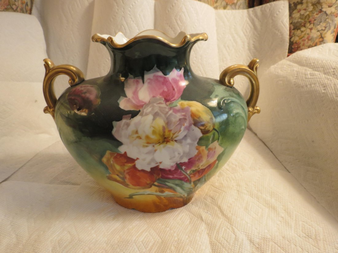 "Two handled pillow vase w/ vibrant flowers 8.5"" H x 10"" - 2"