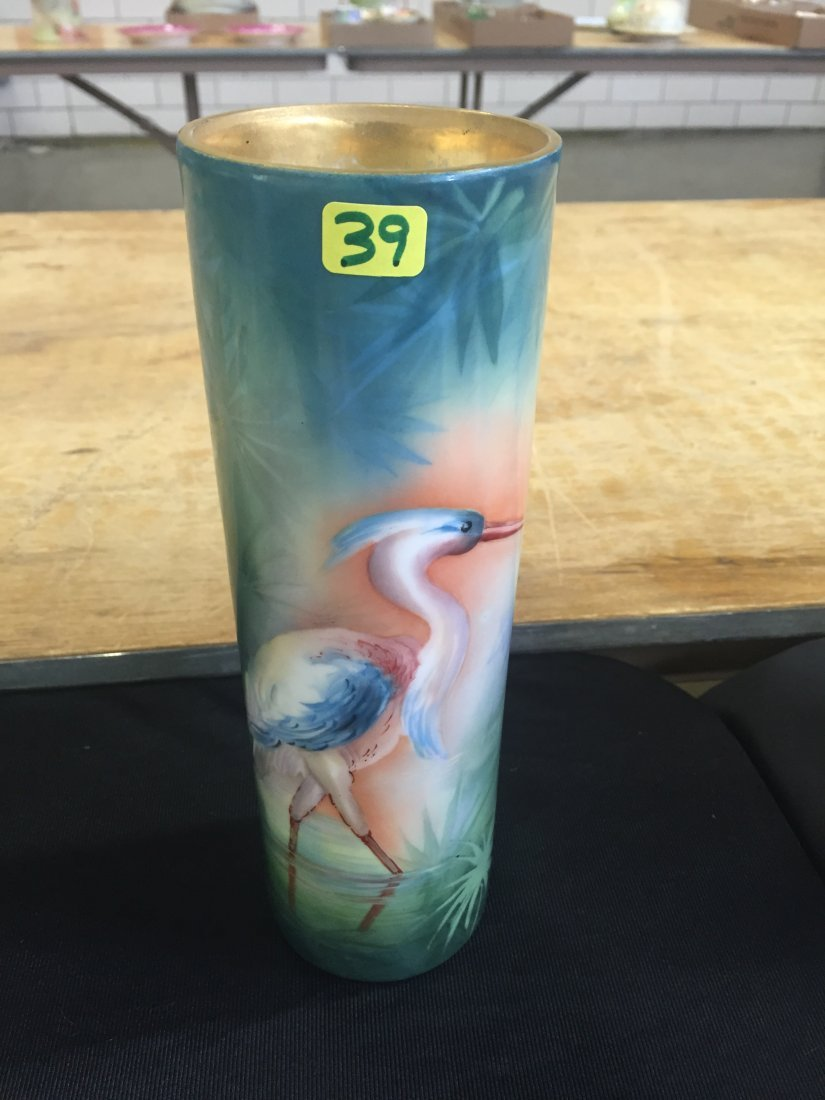 "Cylinder Vase with handpainted land bird 10"" H Made by:"