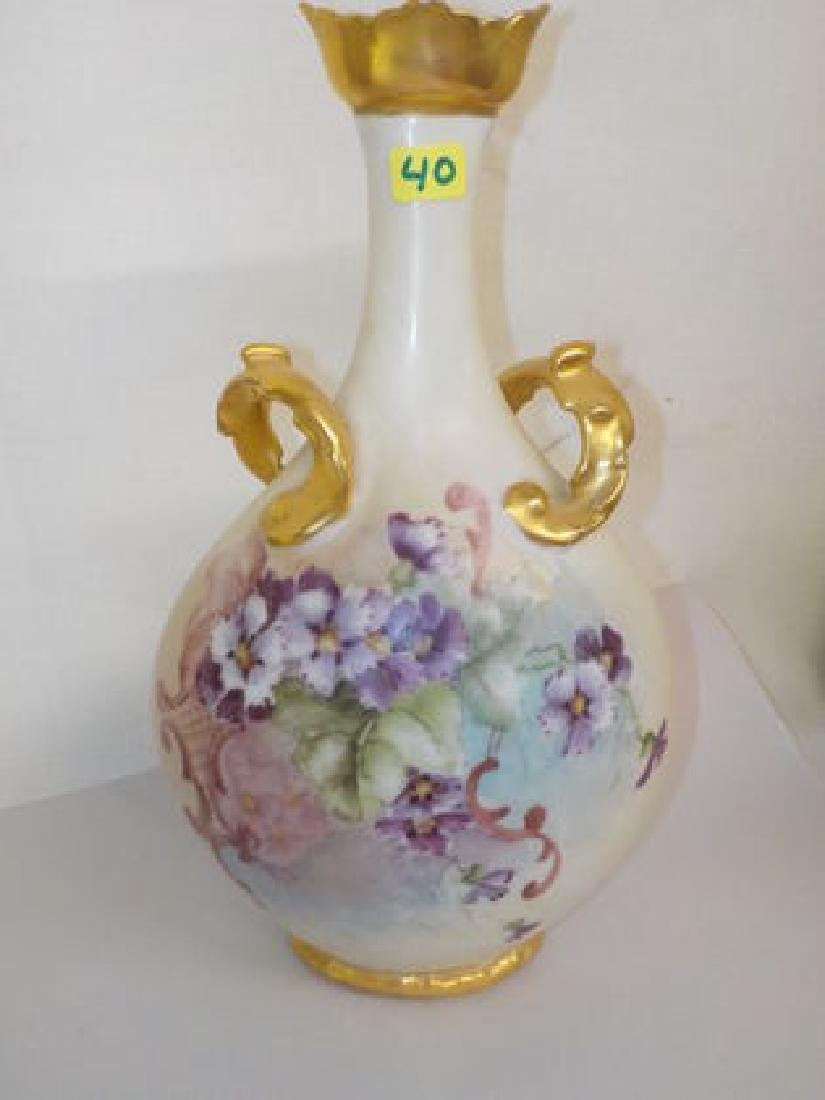 Two handled pillow vase w/ gold accent & purple violets