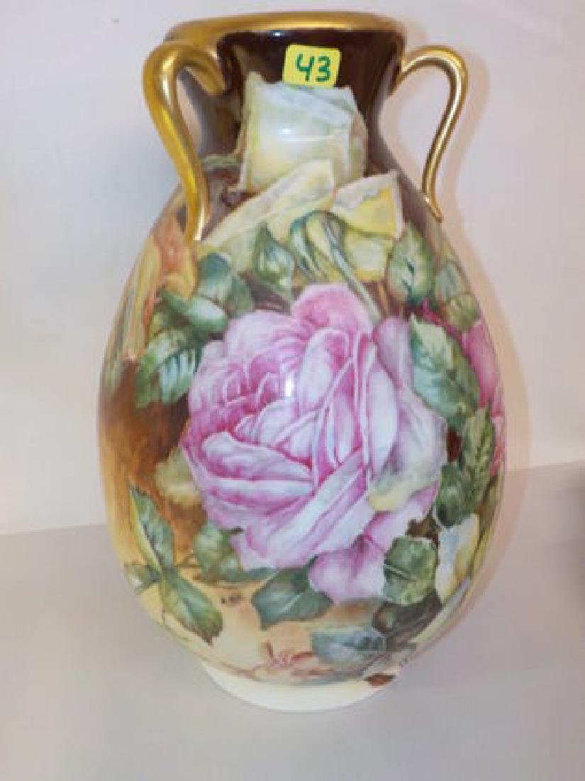 "Impressive 3 handle bulbous Vase 12"" H x 7"" W Made by:"