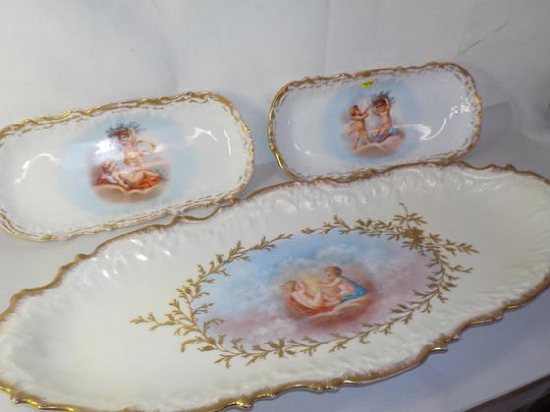 13 pc. Game Set w/ handpainted cherubs: Platter
