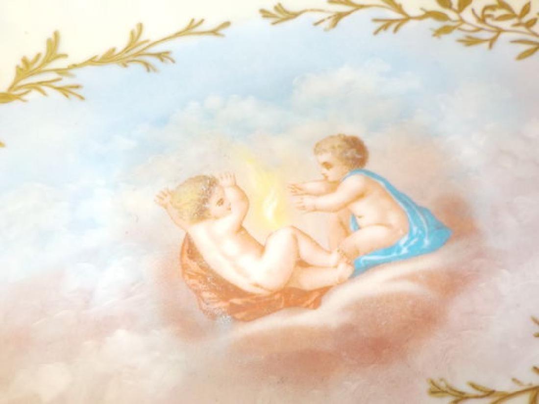 13 pc. Game Set w/ handpainted cherubs: Platter - 2