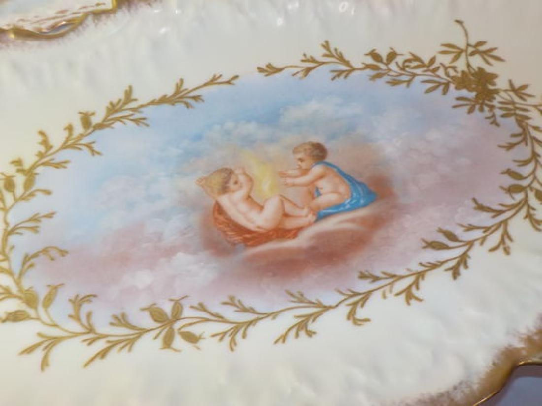 13 pc. Game Set w/ handpainted cherubs: Platter - 3