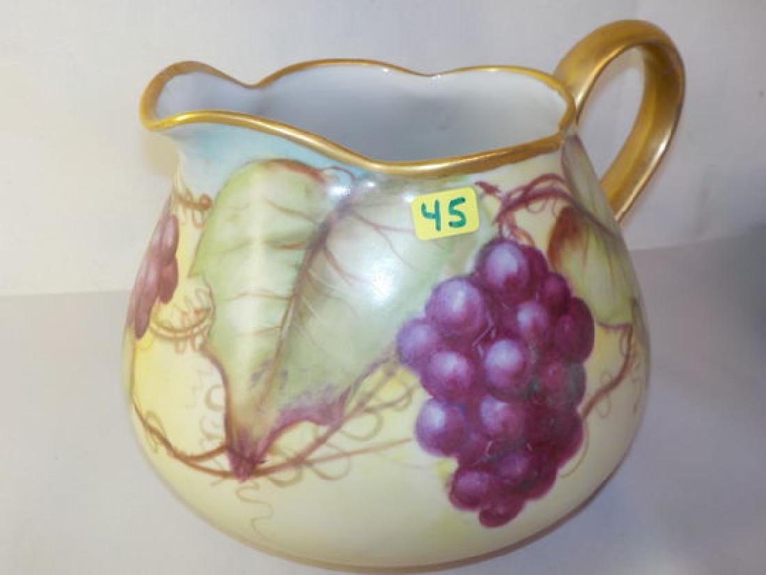 Cider Pitcher with handpainted grapes and gold handle
