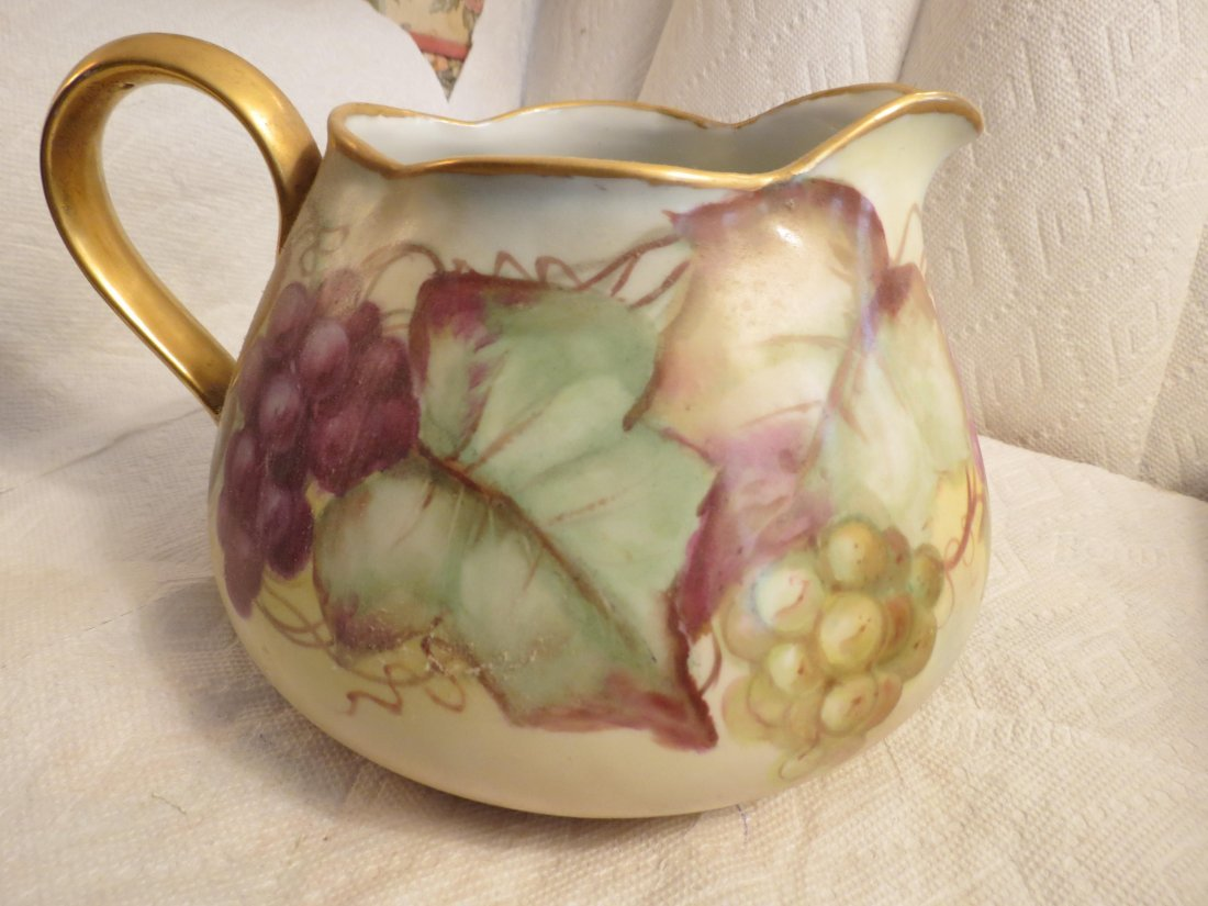 Cider Pitcher with handpainted grapes and gold handle - 2