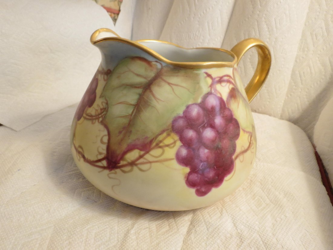 Cider Pitcher with handpainted grapes and gold handle - 3