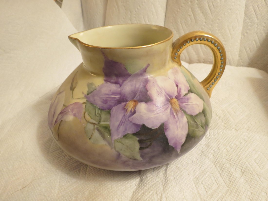 gold handle pitcher with purple flowers bulbous form - 2