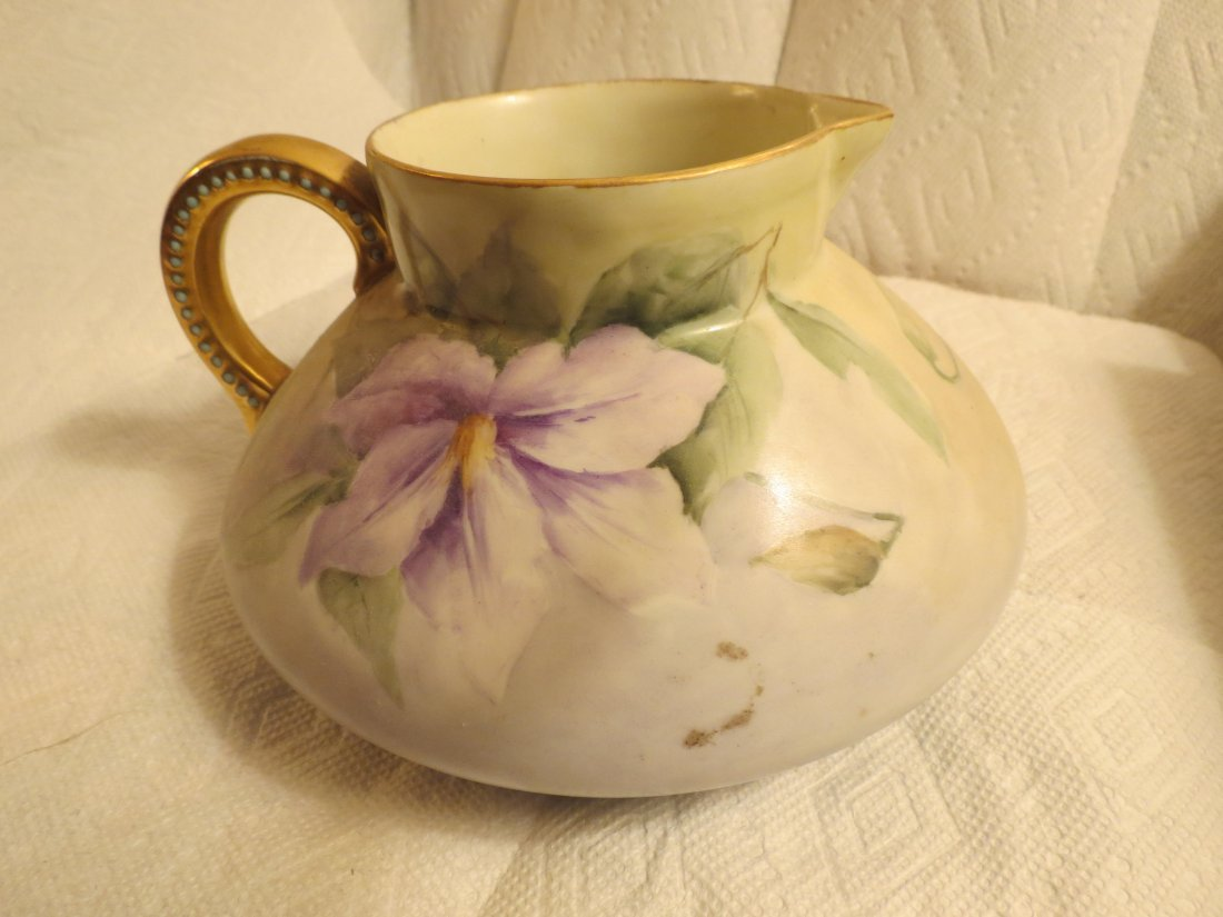 gold handle pitcher with purple flowers bulbous form - 3