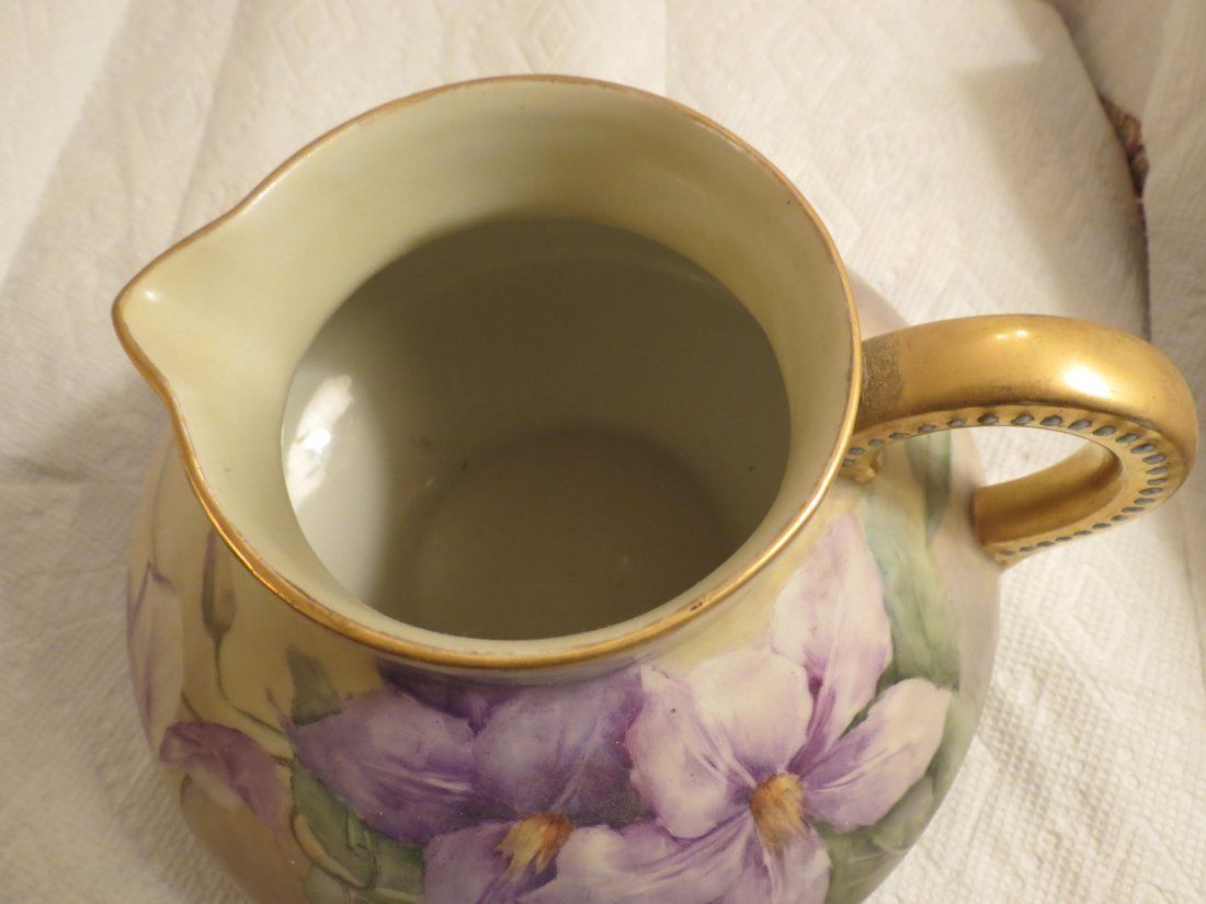 gold handle pitcher with purple flowers bulbous form - 4