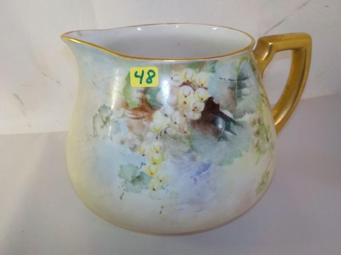 "Cider Pitcher w/ handpainted grapes 6.5"" H x 8"" W Made"