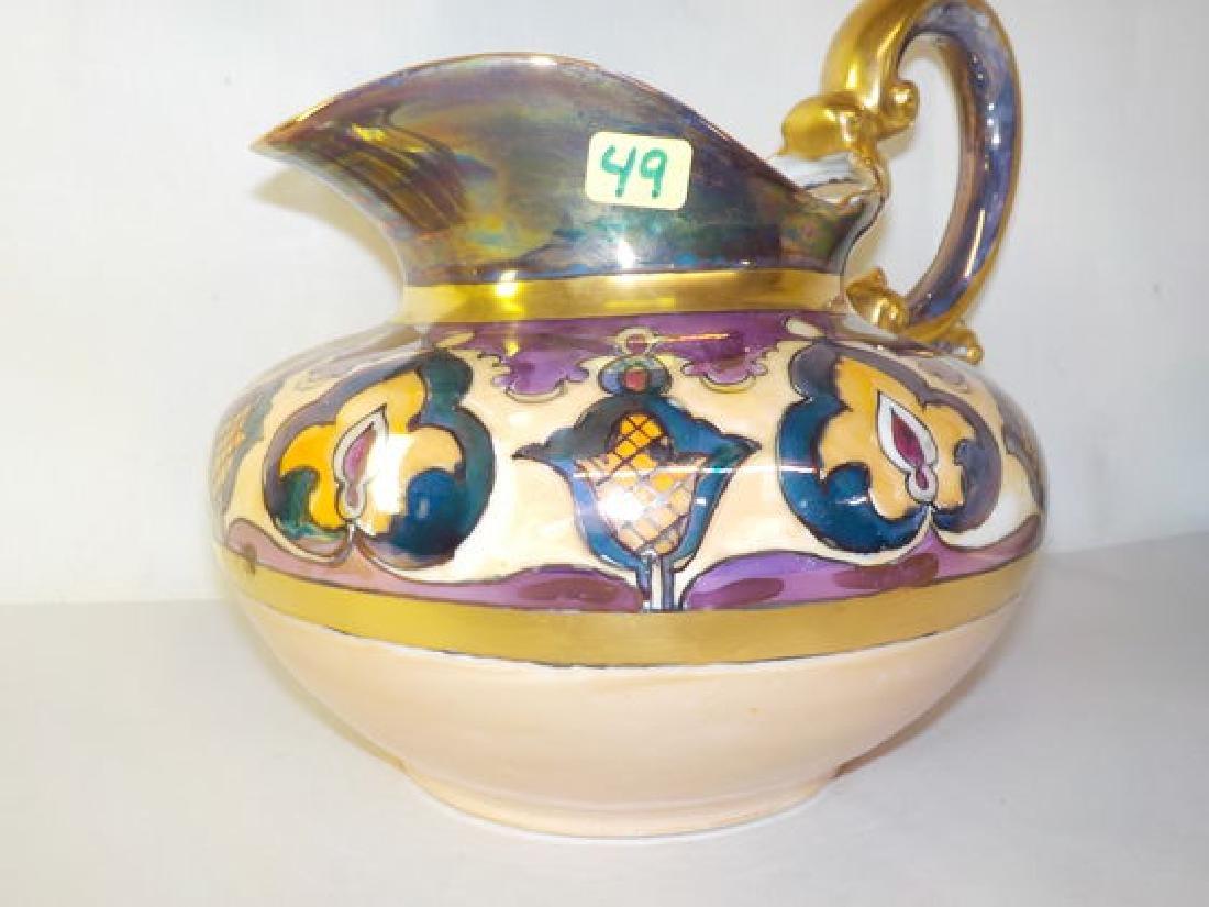 "Cider Pitcher w/ gold handle & art deco designs 7.5"" H"