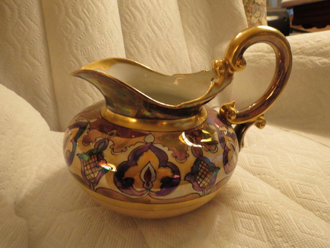 "Cider Pitcher w/ gold handle & art deco designs 7.5"" H - 2"