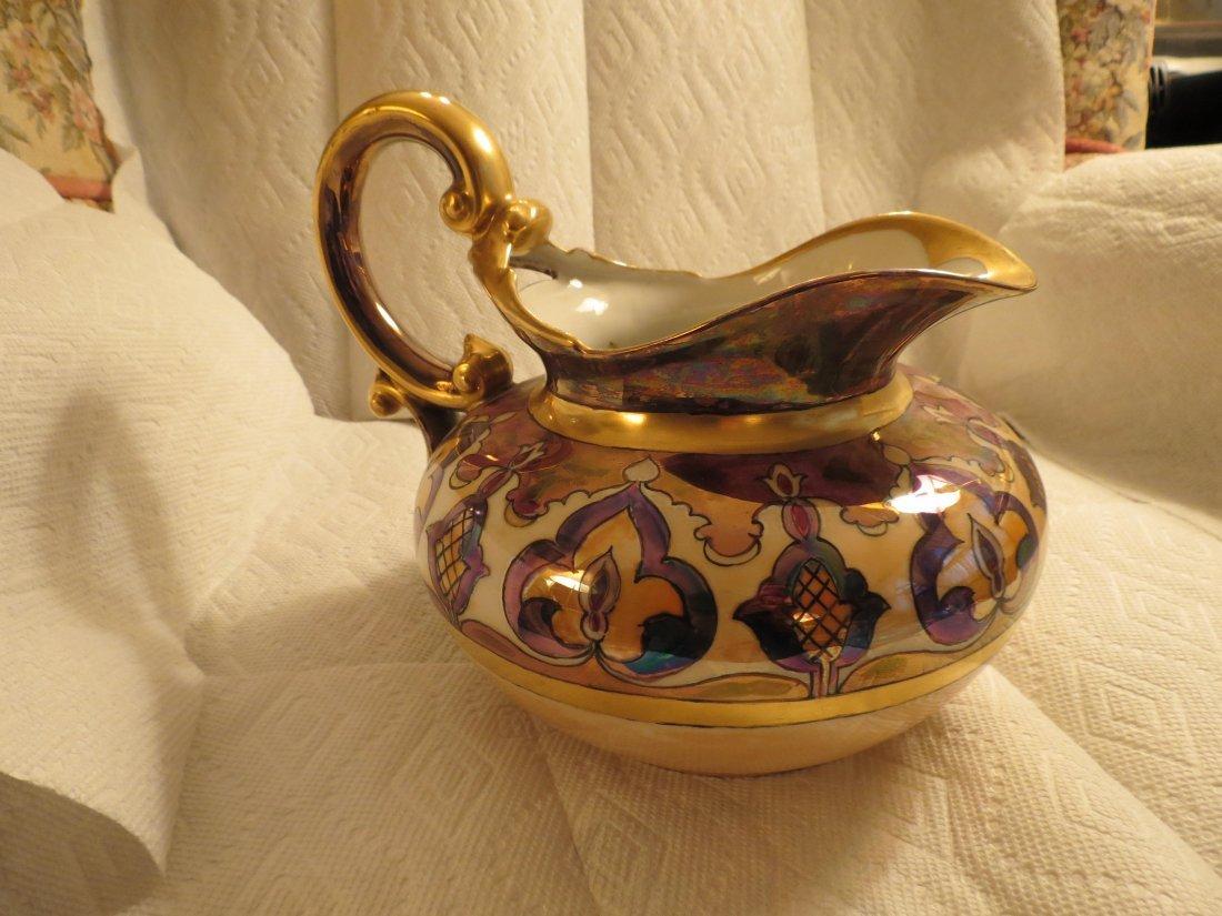 "Cider Pitcher w/ gold handle & art deco designs 7.5"" H - 4"