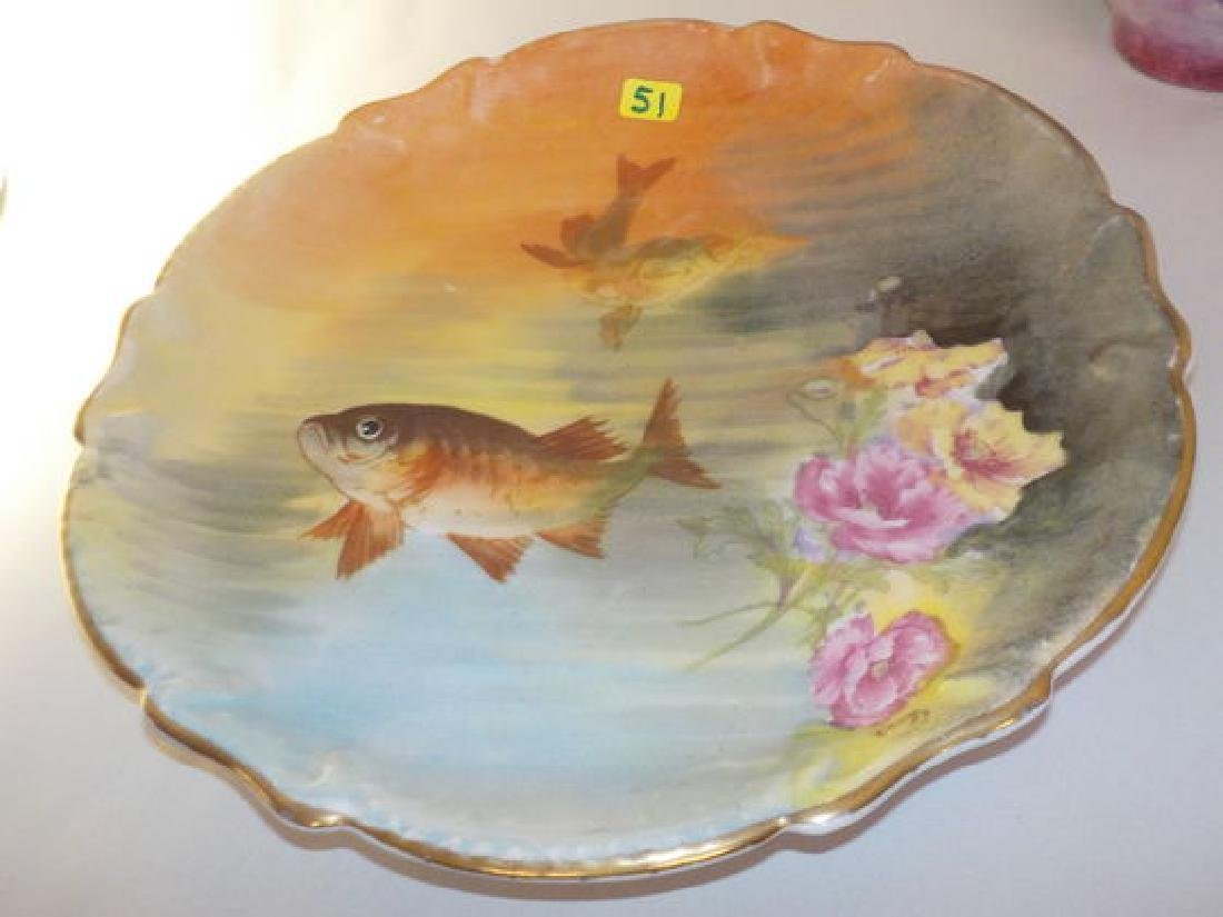 "Fish Plate w/ two fish and roses 11"" W Made by: Staus &"