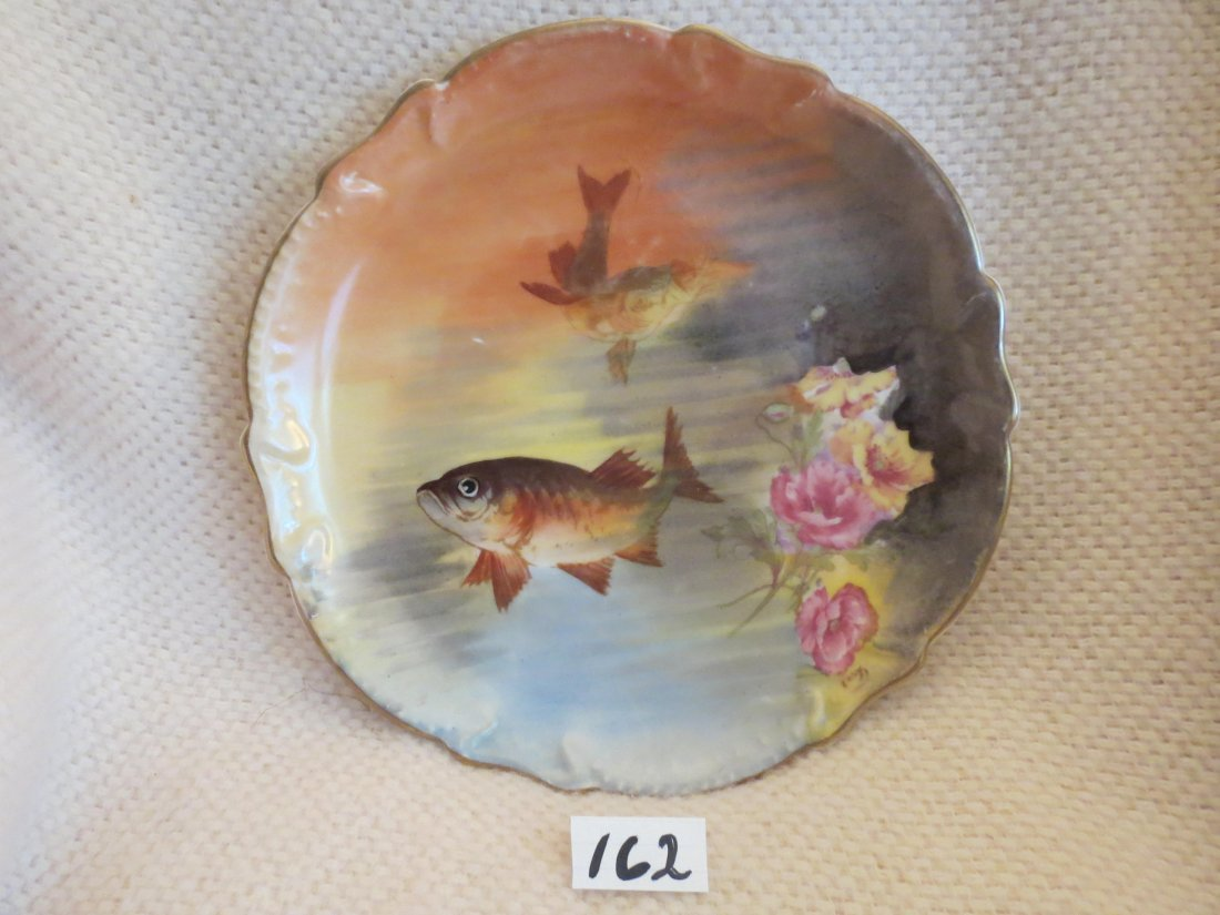 "Fish Plate w/ two fish and roses 11"" W Made by: Staus & - 2"