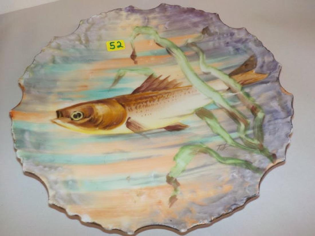 """Fish Plate w/ one fish with sea grass 9.75"""" W Made by:"""