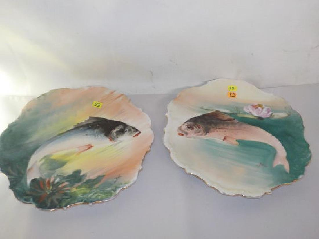 "2 pcs. Fish plates signed ROCH 11"" W Made by: Flambeau"