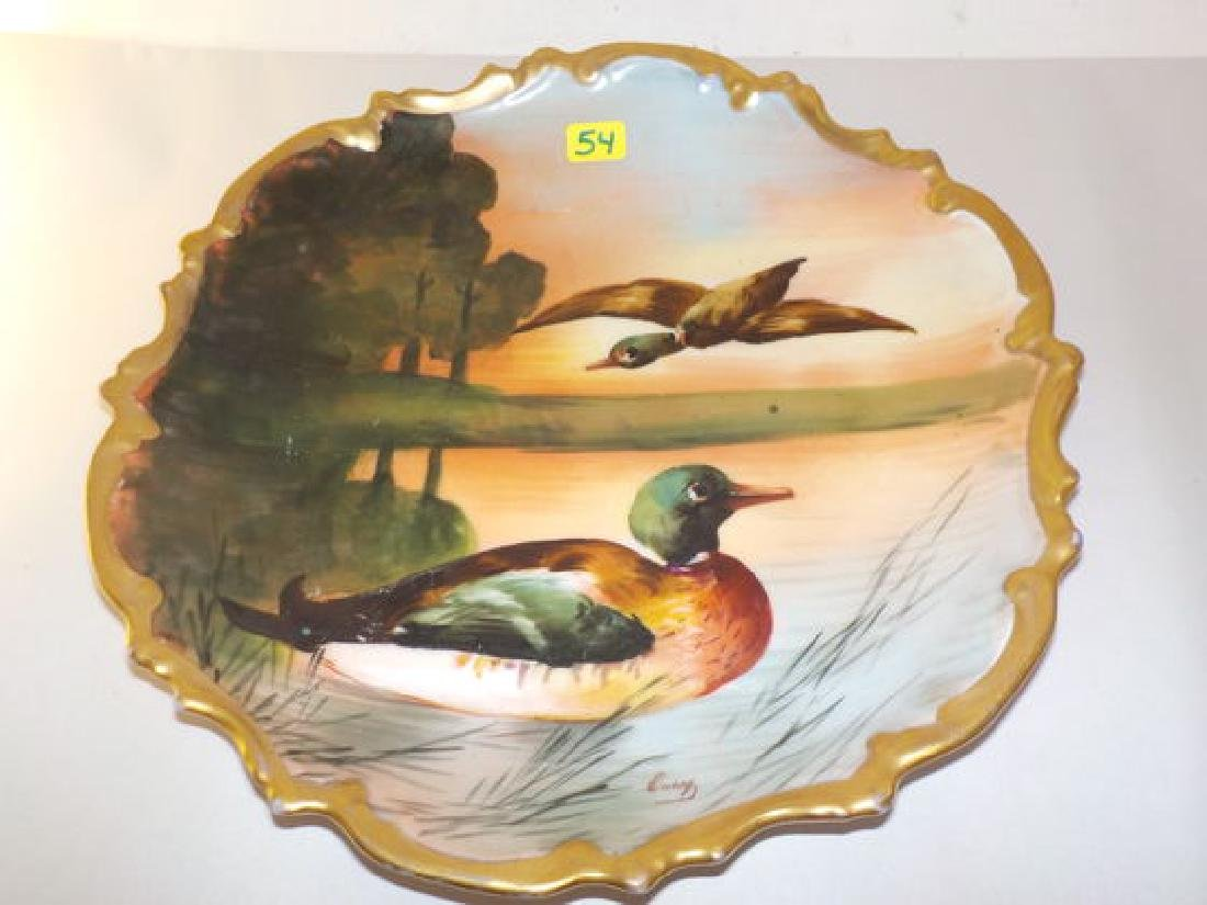 """Game Plate w/ two mallord ducks 10.3"""" W Made by: LRL"""