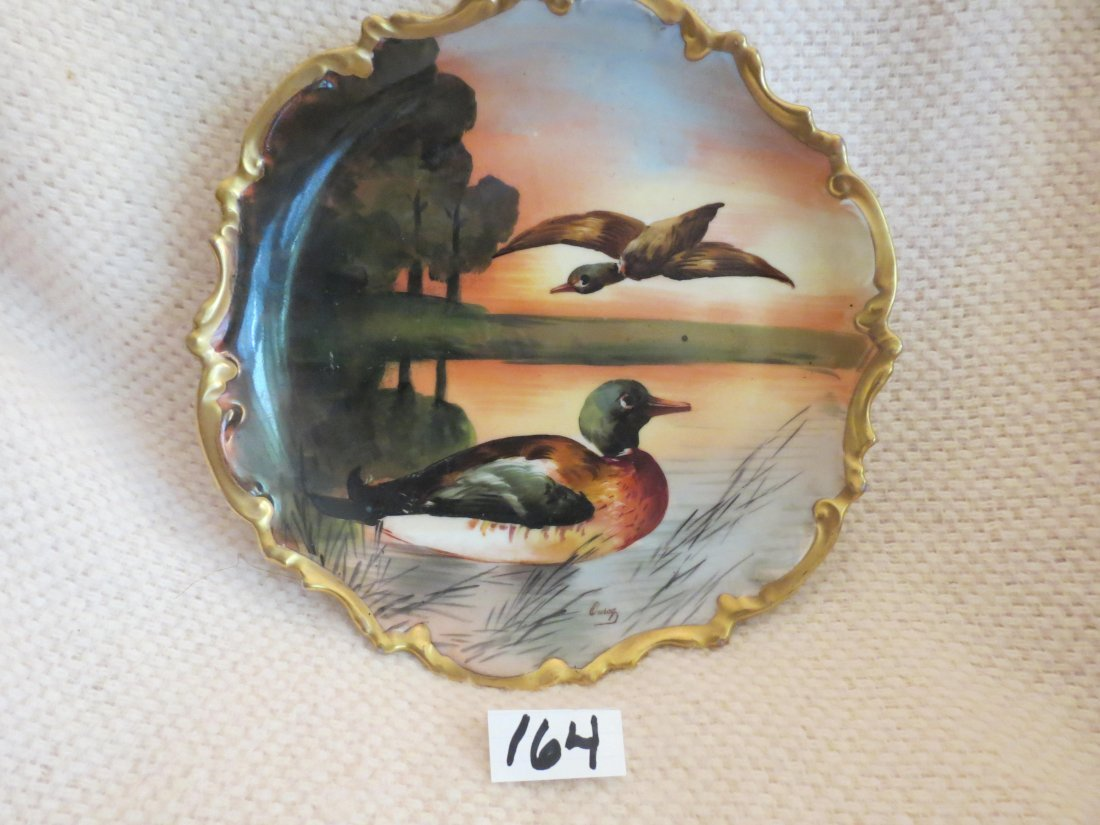 """Game Plate w/ two mallord ducks 10.3"""" W Made by: LRL - 2"""