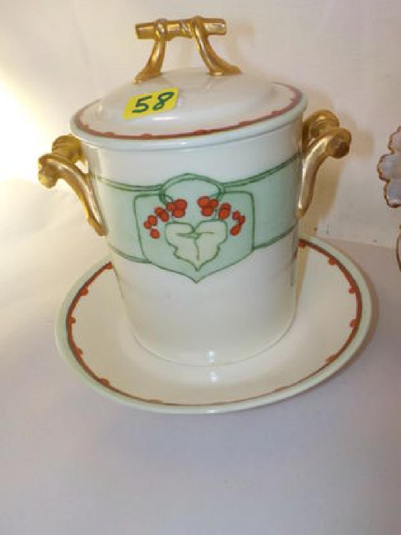 "Strawberry bowl/lid/ underplate (6) pierced drain 4"" H"