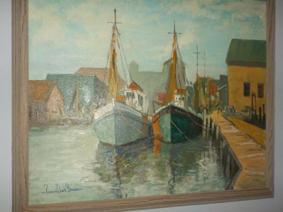 "Francis Clark Brown o.o.c. 25""x30"" Harbor Scene w/boats"