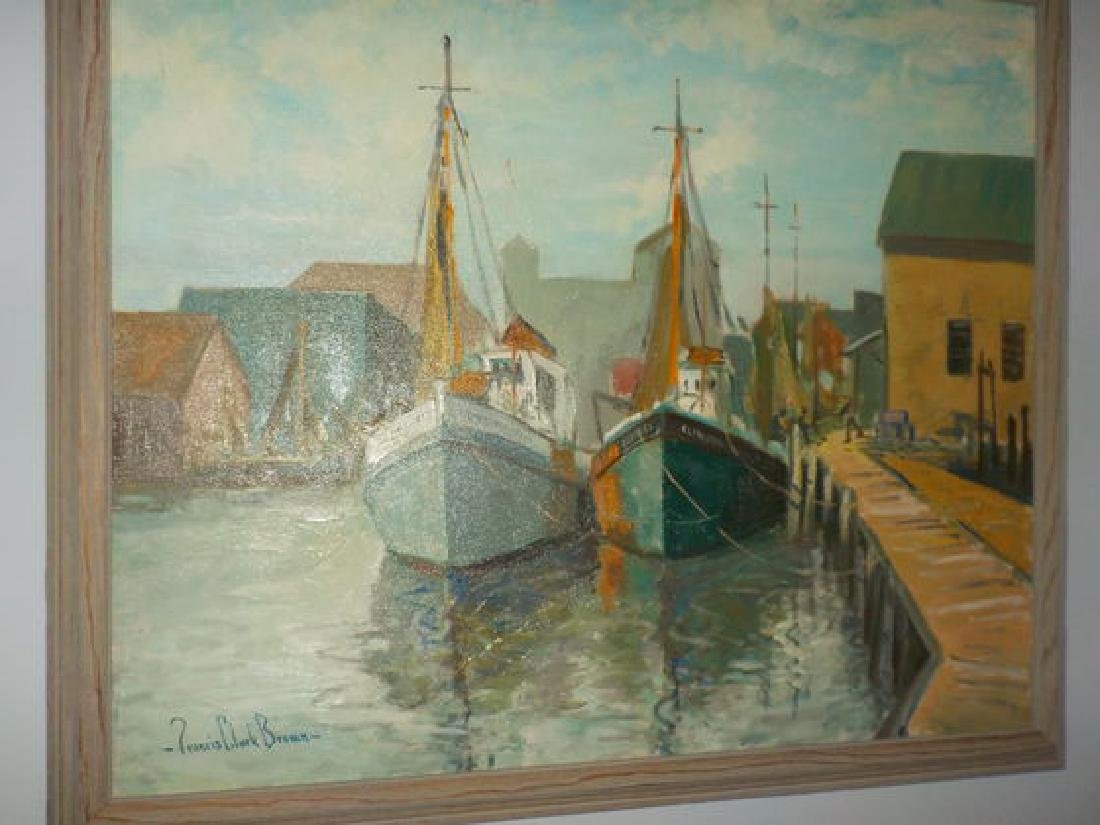 "Francis Clark Brown o.o.c. 25""x30"" Harbor Scene w/boats"