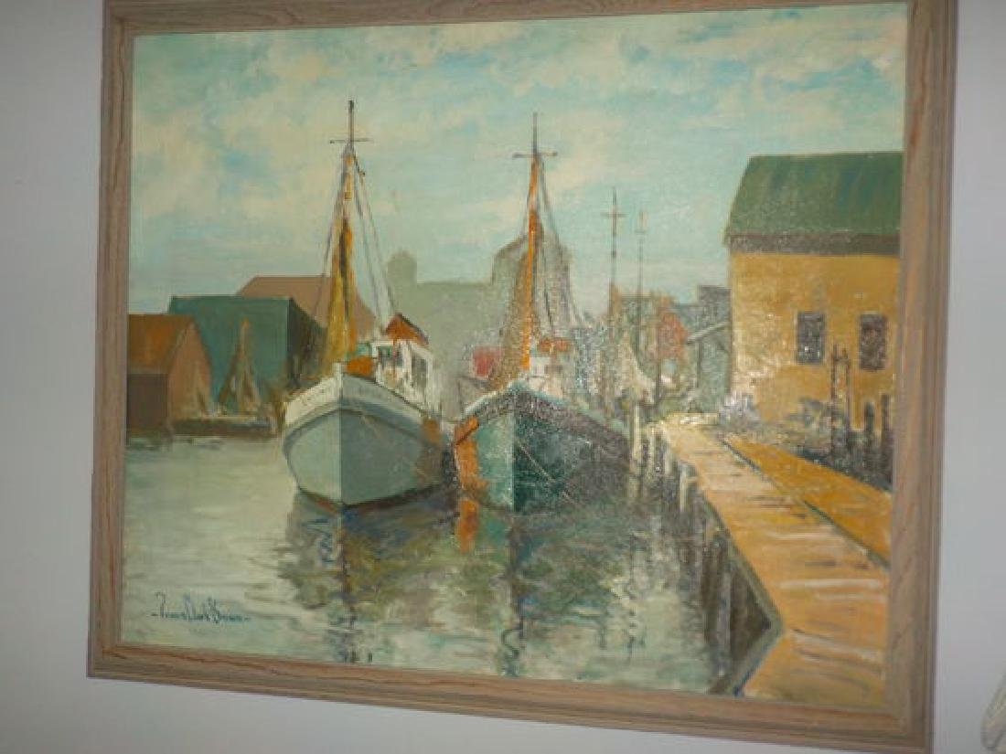 "Francis Clark Brown o.o.c. 25""x30"" Harbor Scene w/boats - 3"