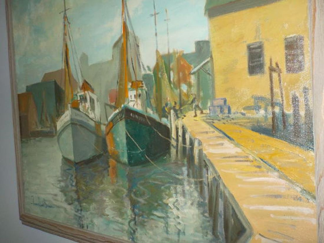 "Francis Clark Brown o.o.c. 25""x30"" Harbor Scene w/boats - 4"