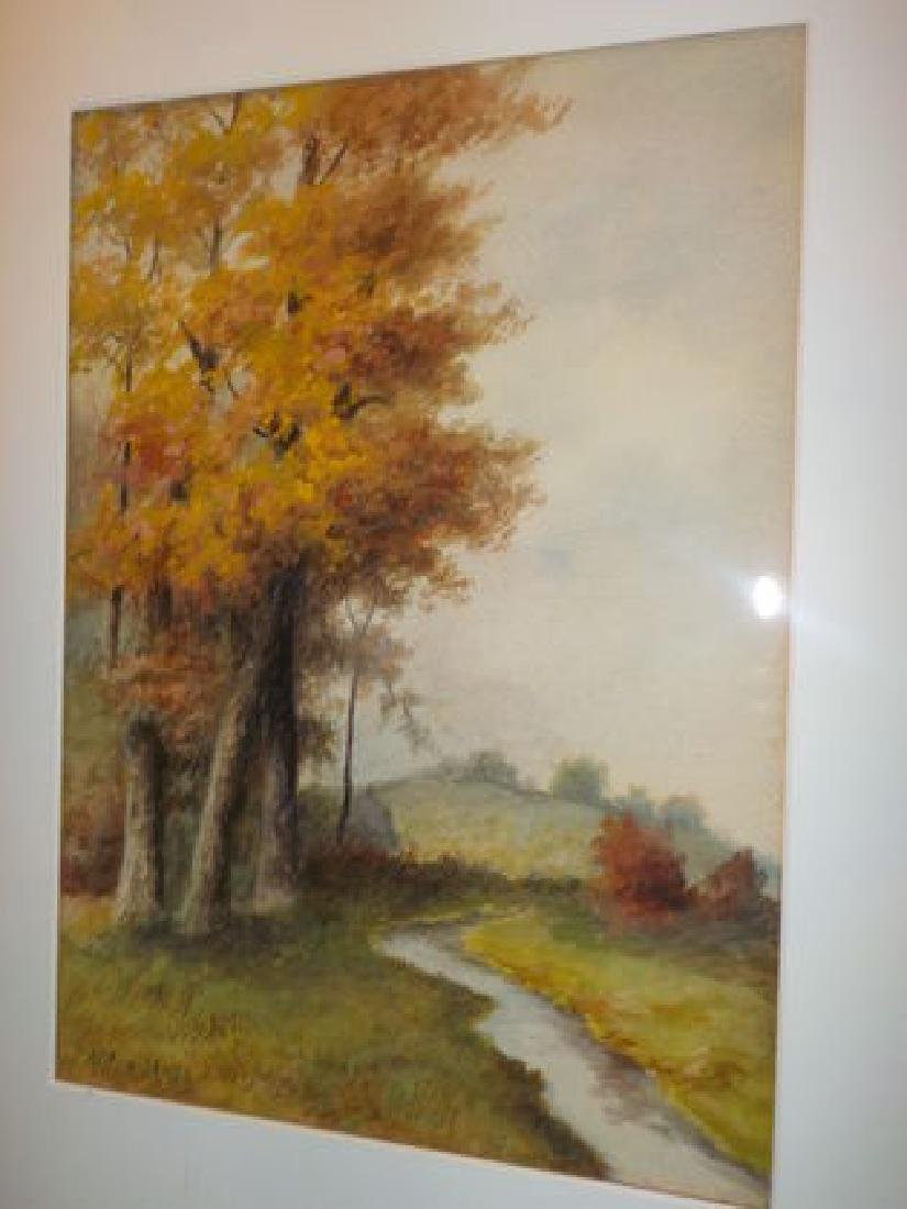 "Alden Mote, W/C 13""x9.5"" early Fall Landscape"