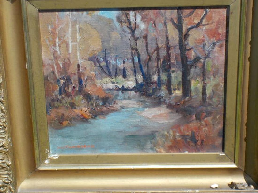 """H.R. Townsend o.o.c. 9""""x11"""" Winter Wooded Landscape"""