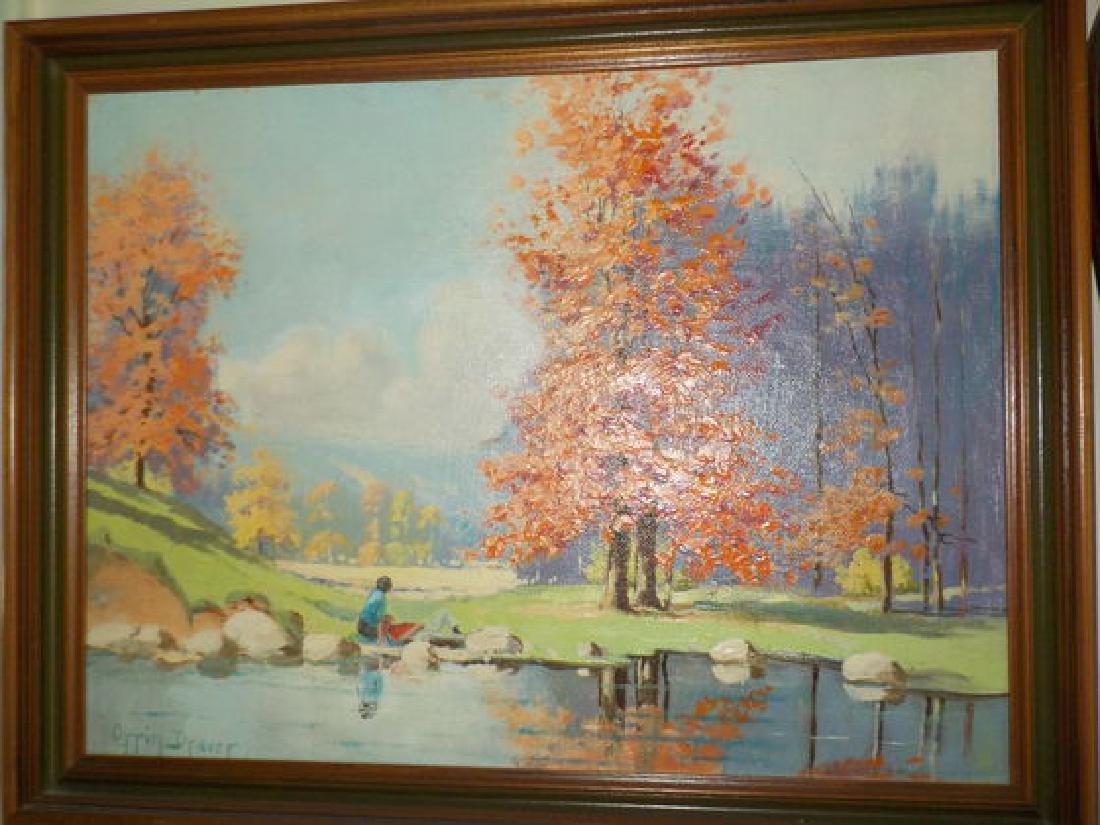 """Orrin Draver o.o.c. 12""""x16"""" Landscape w/colorful fall - 2"""