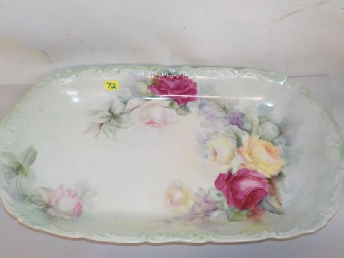 "Server platter w/ roses 9.5"" W x 16.3"" D Made by: T & V"