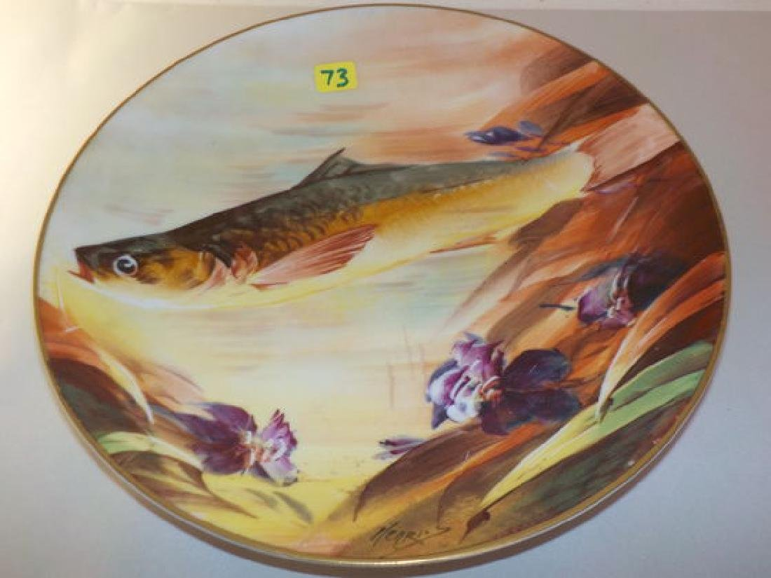 """Fish Plate w/ purple flowers signed Henries 10"""" W Made"""