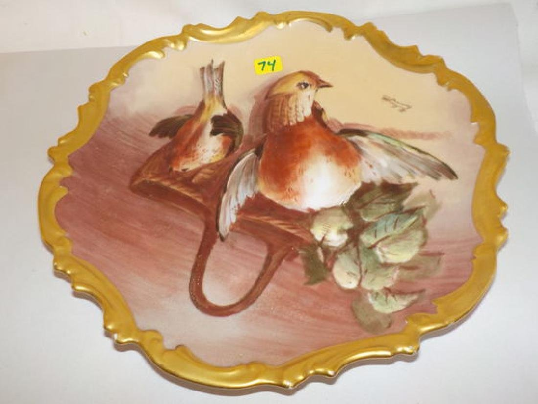 "Game Plate with birds and basket 10.3"" W Made by: LRL"