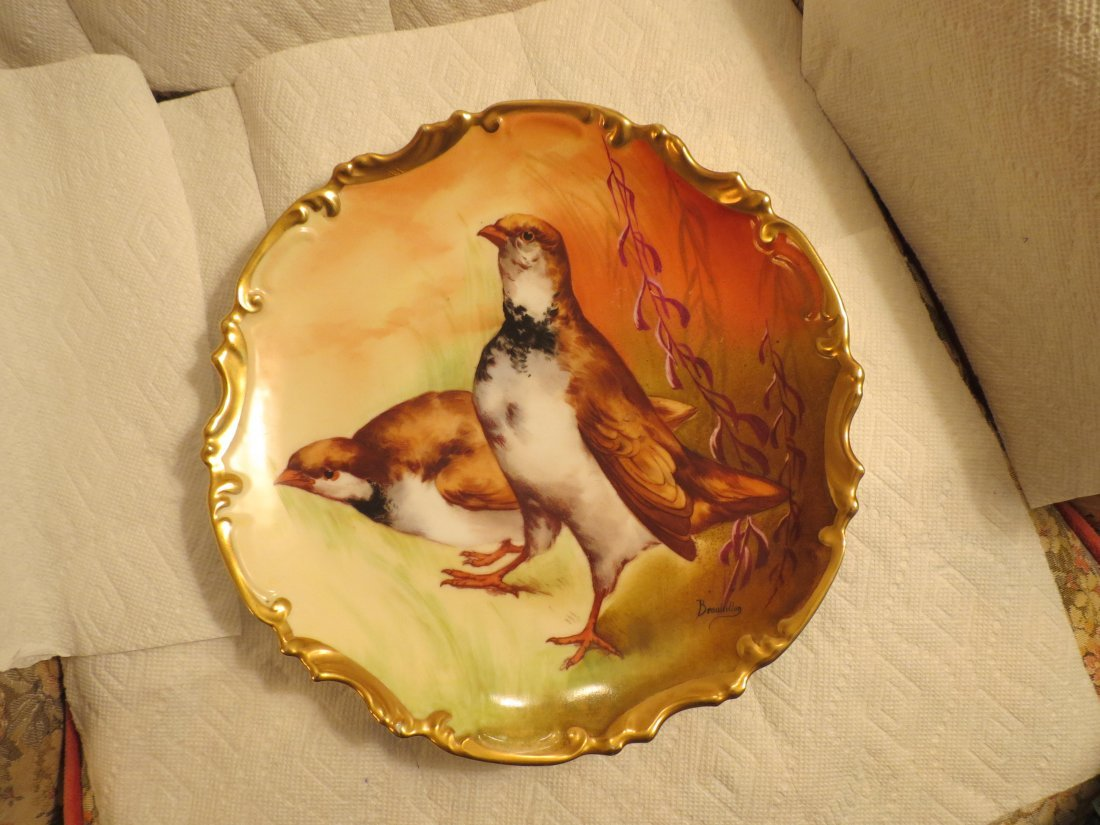 """Game Plate w/ two qual  11.5"""" W Made by: Coronet"""
